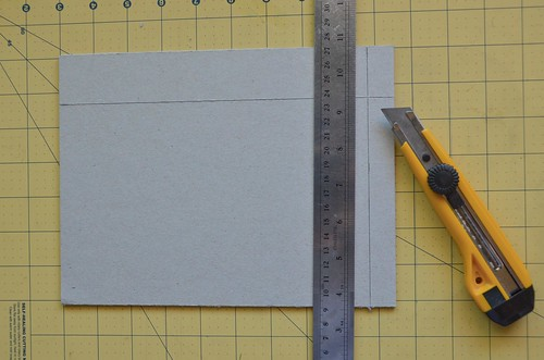 19. Use Xacto knife or box cutter to cut book board into 3 pieces.