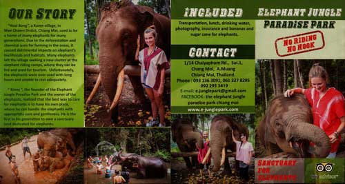 Elephant Jungle Paradise Park Chiang Mai Thailand Brochure 1