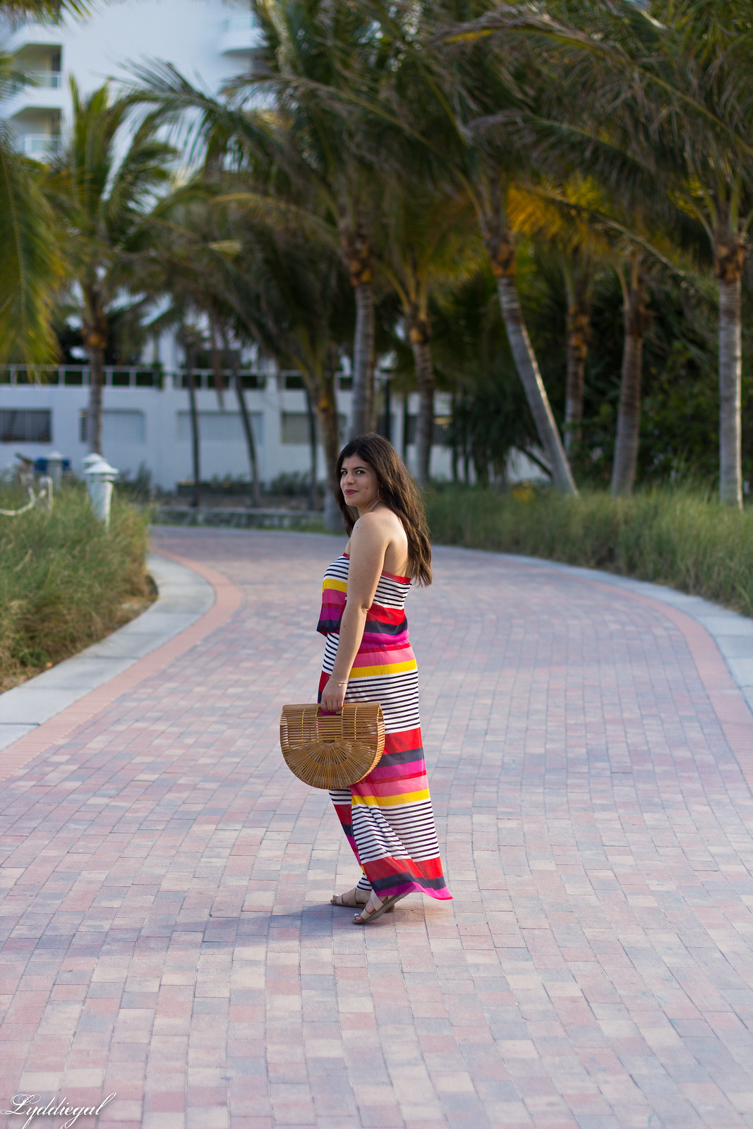 pink striped maxi dress, bamboo half moon bag, beach outfit-3.jpg