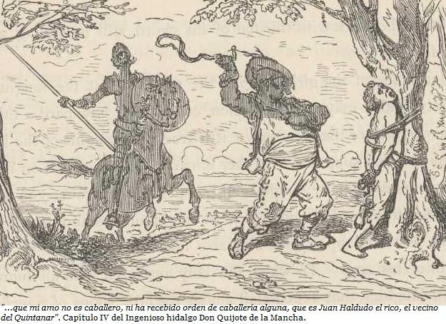 Grabado con la escena de Juan Haldudo en El Quijote