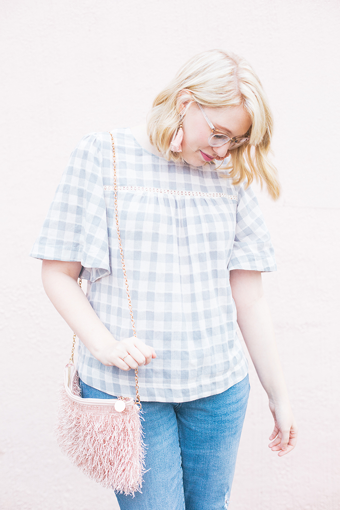 austin fashion blog gingham bell sleeves and blush11