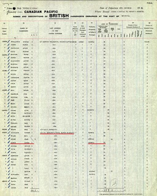 George Casbon b 1914 Canada passenger list 1929