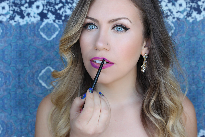 How to Do an Ombre Lip with Maybelline | Hot Pink Ombre Lip Makeup with Lip Liner Tutorial Maybelline Color Sensational Shaping Lip Liner in Wild Violets
