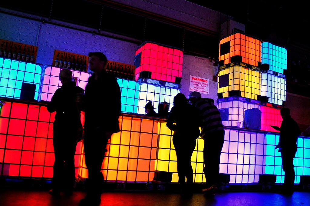 Colourful Lights @ a Cool Bar | Silhouettes of people at the… | Flickr