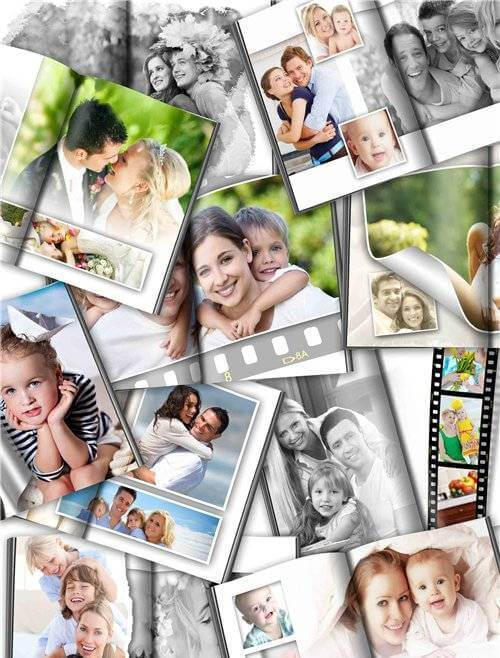 Photoshop universal photo book with black and white effect