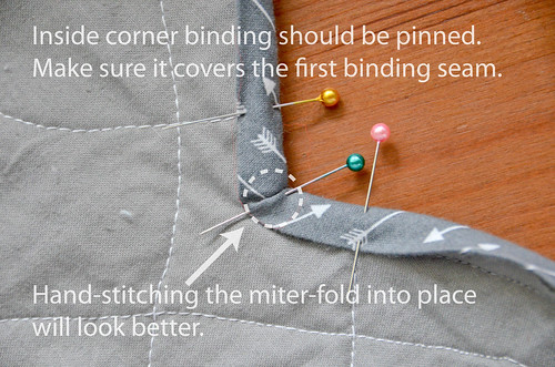 5. Pin a miter into the inside corners. Secure on both sides with a couple hand-stitches. Make sure binding will cover first binding seam!