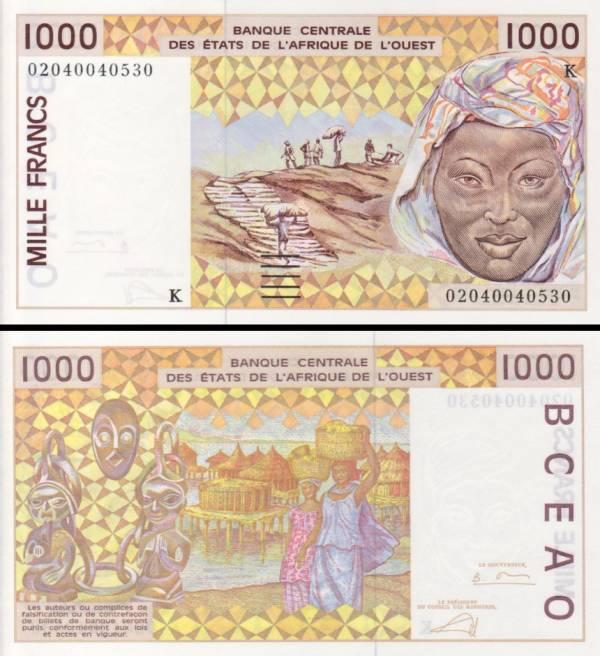1000 Frankov Senegal (Západoafrické štáty) 2002, P711Kl