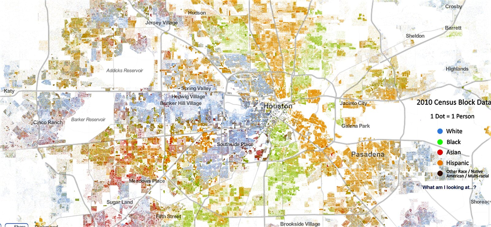 Greater Houston Mapped by Race and Ethnicity  Data source   Flickr