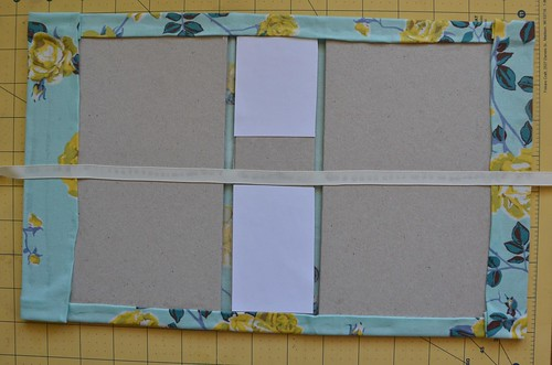 28. Glue card stock scraps to top & bottom of spine.