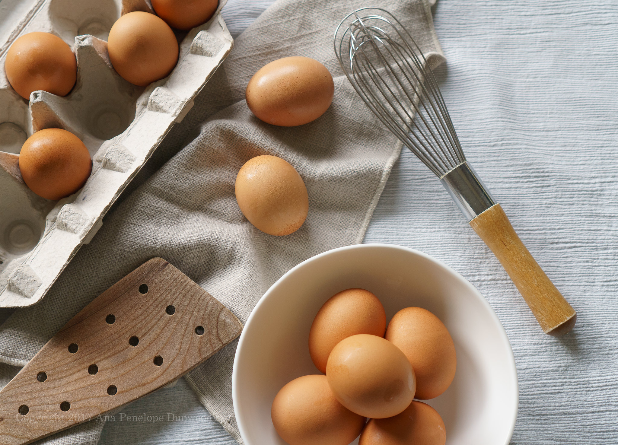 Organic Eggs and kitchen utensils
