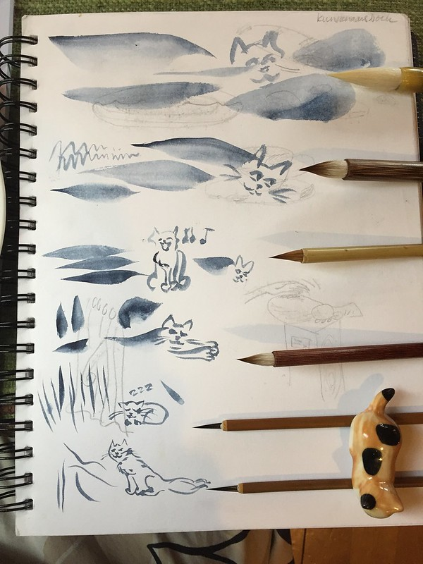 trying out  paint brushes from Jiangxi Zhou Xinxing Arts & Crafts Co. Very satisfying brushes! good handle, good quality. The different hairs and styles each deliverthe stroke I intend.