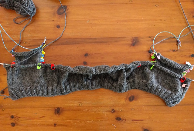 A piece of knitting in progress.