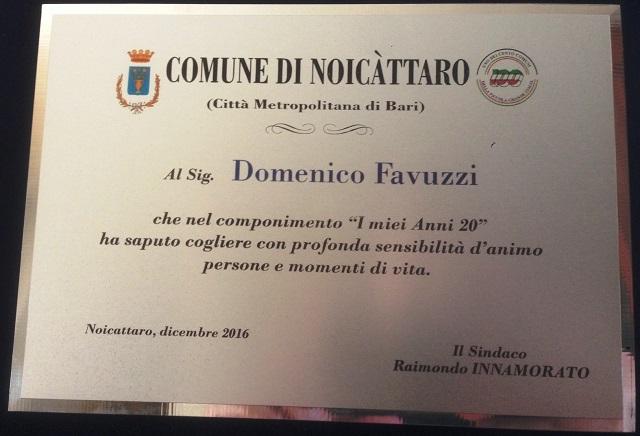 Noicattaro. Targa Domenico Favuzzi intero