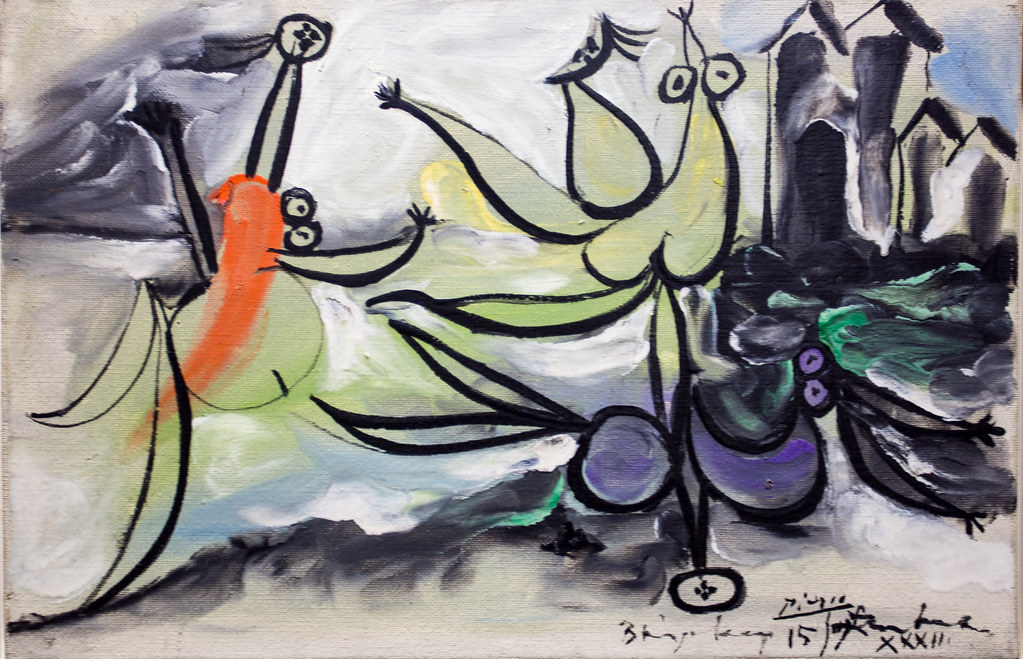 Painting By Pablo Picasso Les Trois Baigneuses Signed A