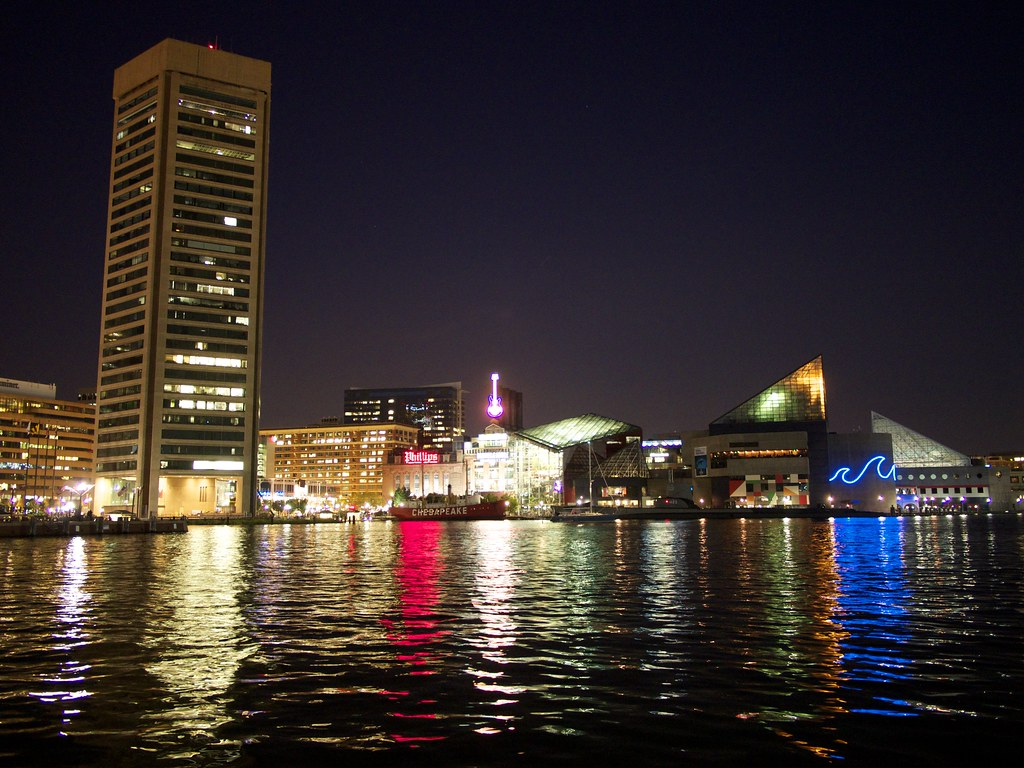Baltimore City Inner Harbor At Night Aquarium Power Pla