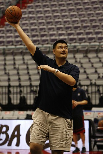 October 12th, 2013 - Yao Ming shoots a hook shot in Taipei, Taiwan | by ballclub