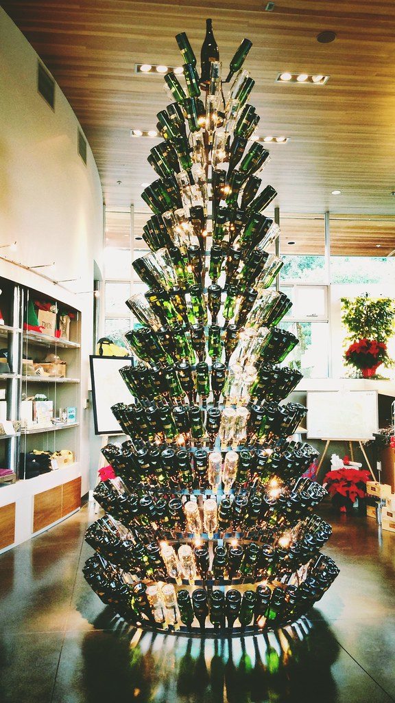 Christmas tree made of empty wine bottles at twomey cellar for How to make a wine tree