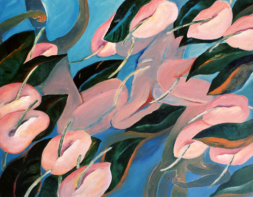 Acrylic painting of anthurium and dancers