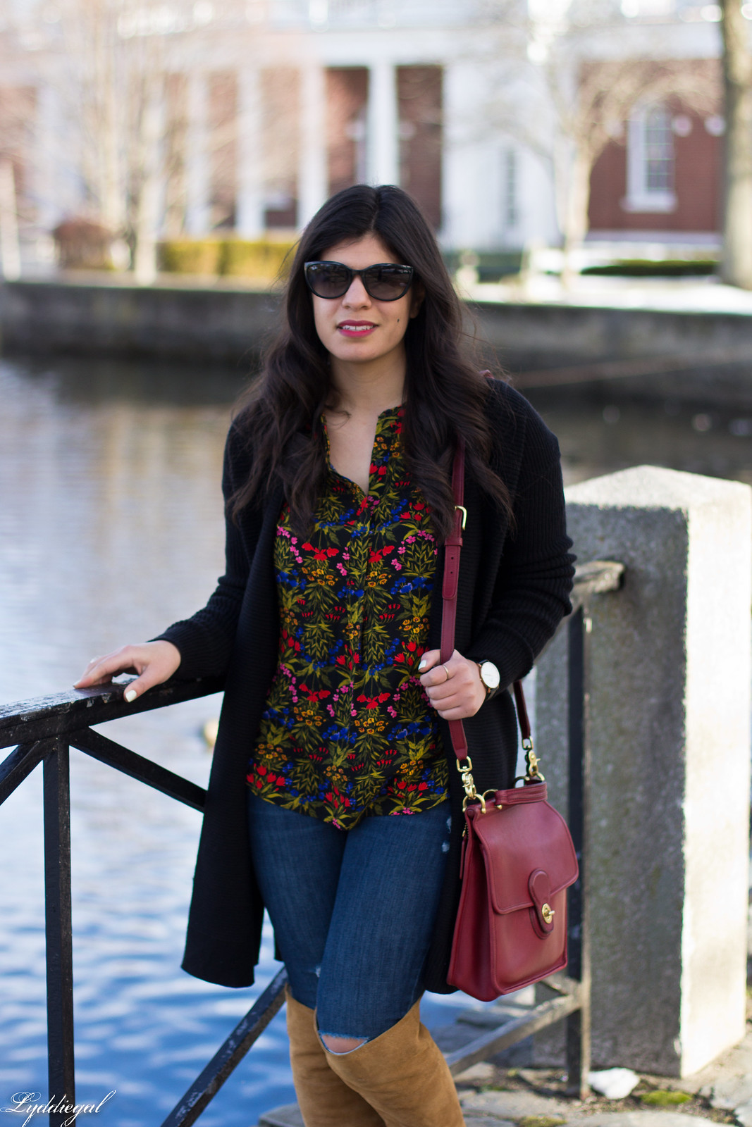 dark floral print blouse, long black cardigan, over the knee boots-3.jpg