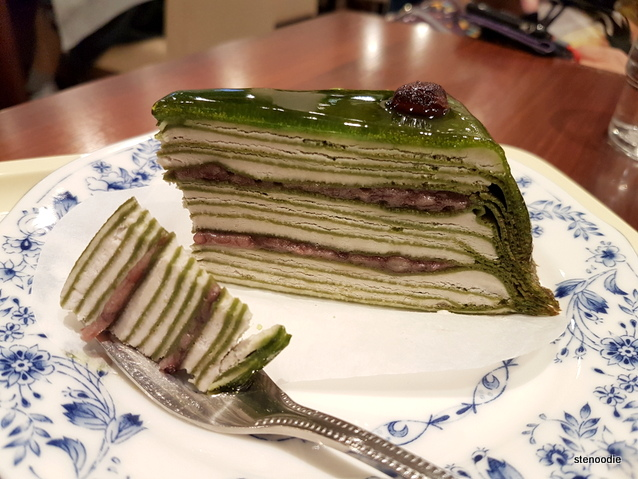 matcha red bean crepe cake