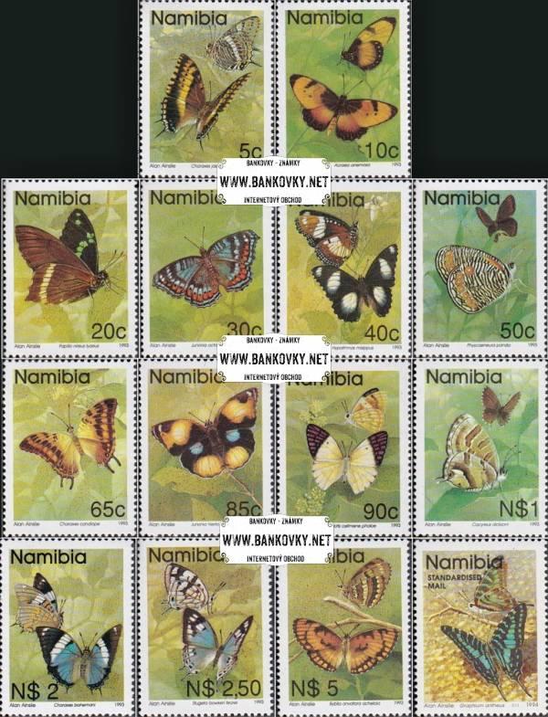 Známky Namíbia Motýle, razítkovaná séria