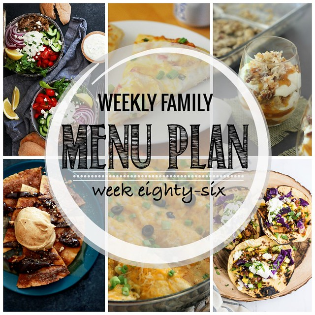 Weekly Family Menu Plan - Week 5! Five weeknight dinners, a weekend breakfast, and a yummy dessert!