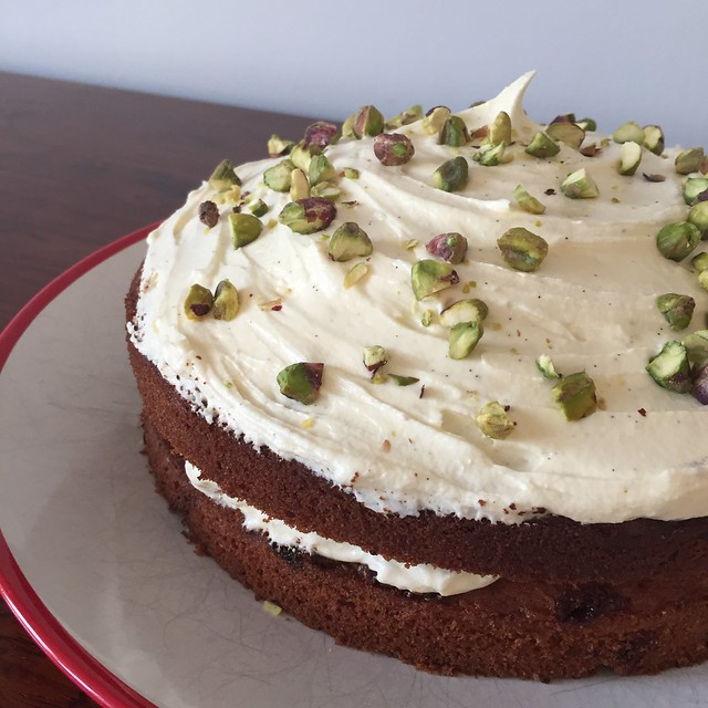 White chocolate and pistachio cake