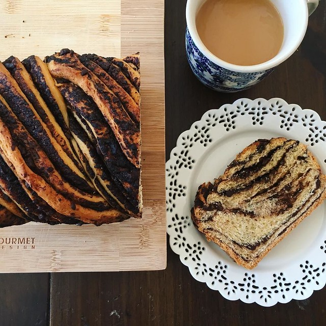 Yesterday's babka for breakfast. #kingarthurflour #bakealong #chocolatebabka