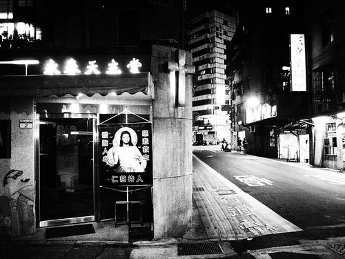 台湾のカトリック教会のモノクロ写真