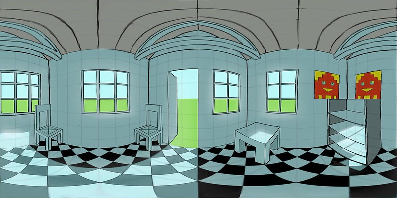 Equirectangular panorama of a cubic room