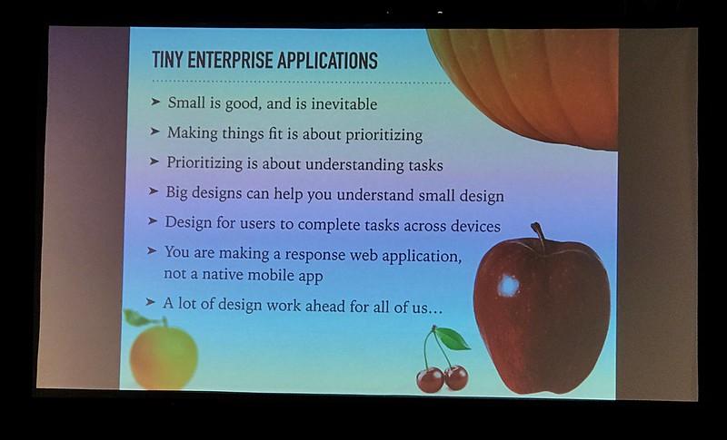 Summary of @haganrivers' talk about enterprise apps on mobile screens. #uxinteractions