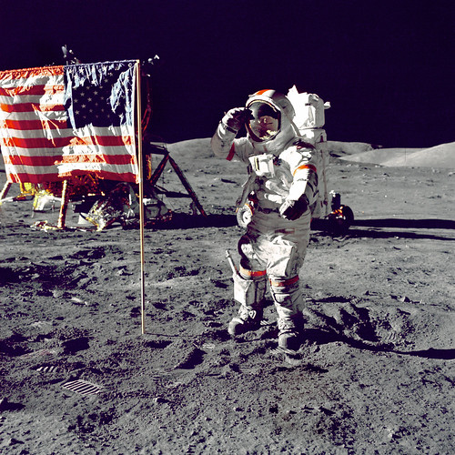 Cernan Jump Salutes Flag | by NASA on The Commons