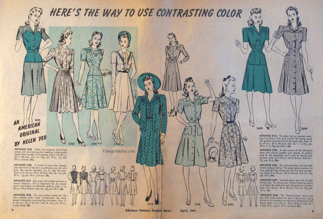 """April 1941 Advance Pattern Fashion News, image of a ladies two-page fashion magazine layout titled """"Here's the way to use contrasting color"""""""