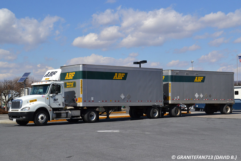 ... ABF Freight Freightliner Columbia with Doubles | by Trucks, Buses, & Trains by granitefan713