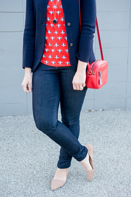 red pattern Loft tee + navy J.Crew sweater blazer + red Loft sunglasses + red J.Crew purse | Style On Target blog