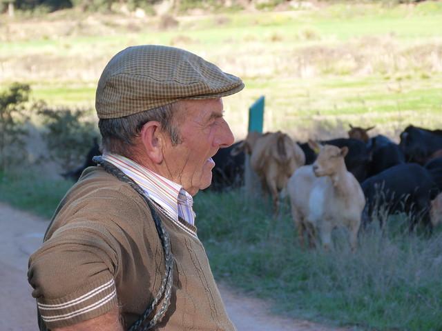 Pastor de cabras cerca del castillo de Rochafrida