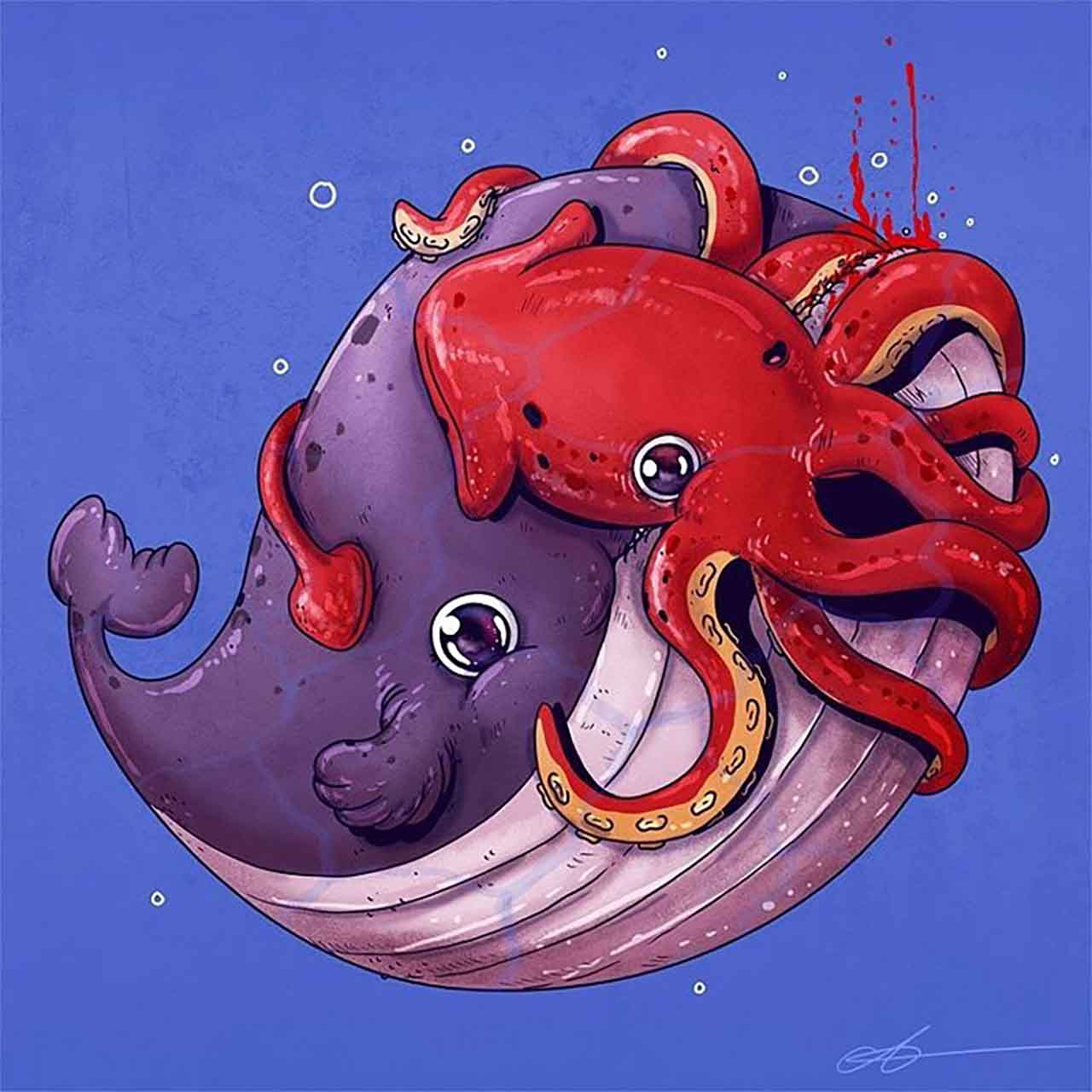 "Artist Creates Extremely Adorable ""Predator & Prey"" Illustrations #9: Whale & Squid"