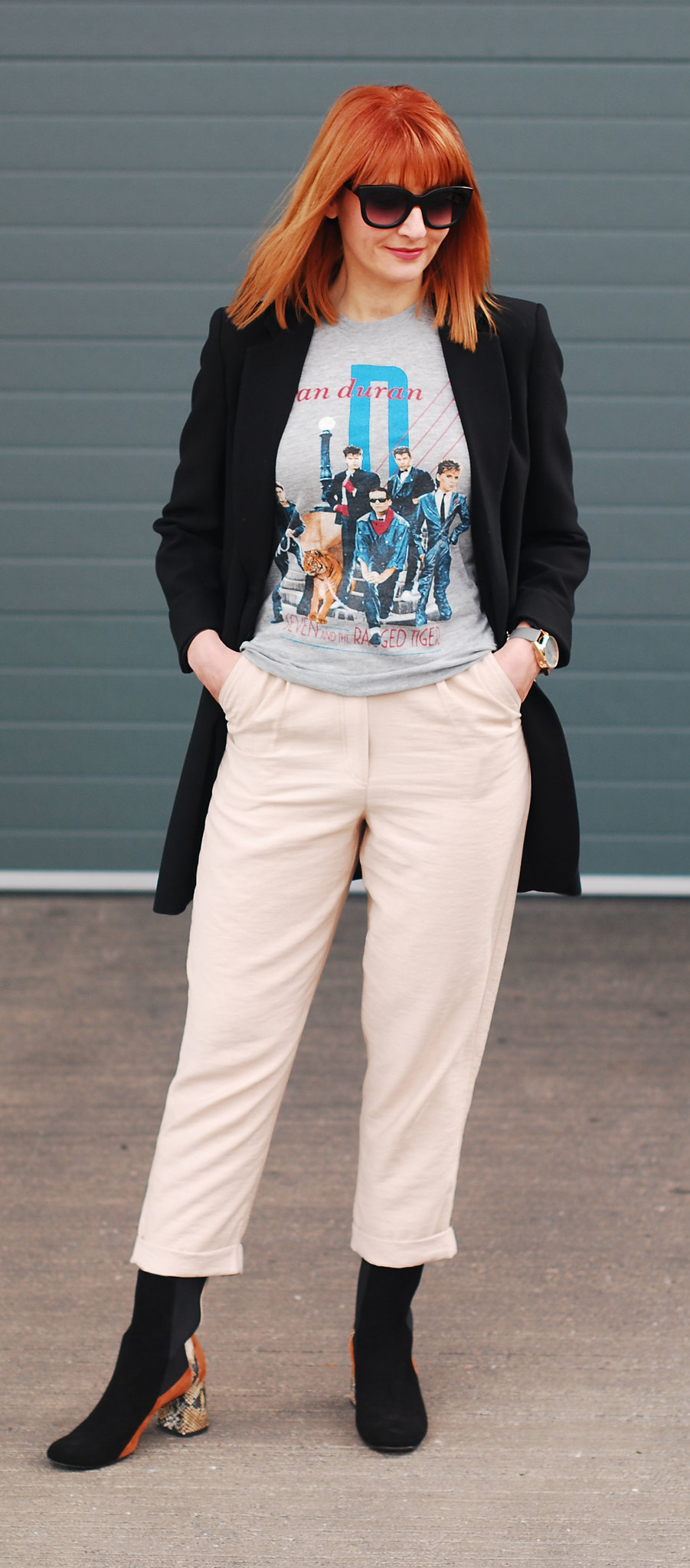 Styling an original band t-shirt: Longline black blazer \ vintage Duran Duran tour t-shirt \ taupe peg leg menswear-style trousers \ snakeskin and panelled suede Finery ankle boots | Not Dressed As Lamb, over 40 style