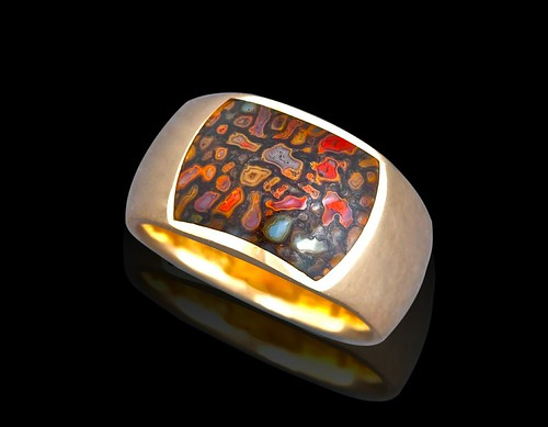 14k with multicolor gembone inlay ring