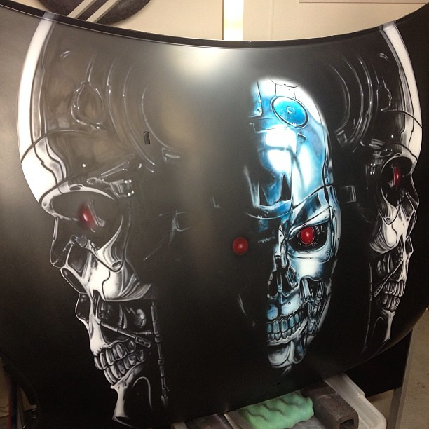 Terminator bonnet hood complete ready for clear airbr for Airbrush car mural