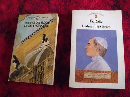 Photo of two books: The Pillow Book of Sei Shonagon and Hadrian the Seventh by Fr. Rolfe