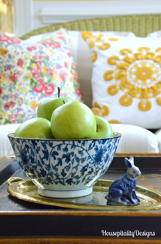 Blue and White Bowl-Granny Smith Apples-Salt Glazed Pottery Bunny-Housepitality Designs