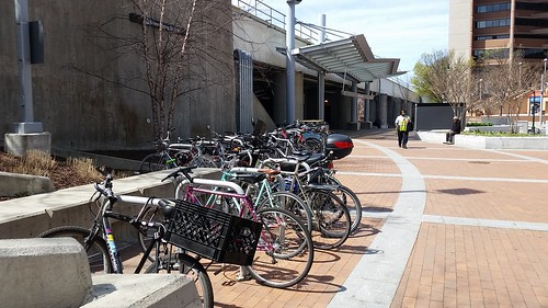 17 bike racks at the Silver Spring Metrorail Station demonstrate that would be a good place to put in a Biceberg kiosk-based bike parking system
