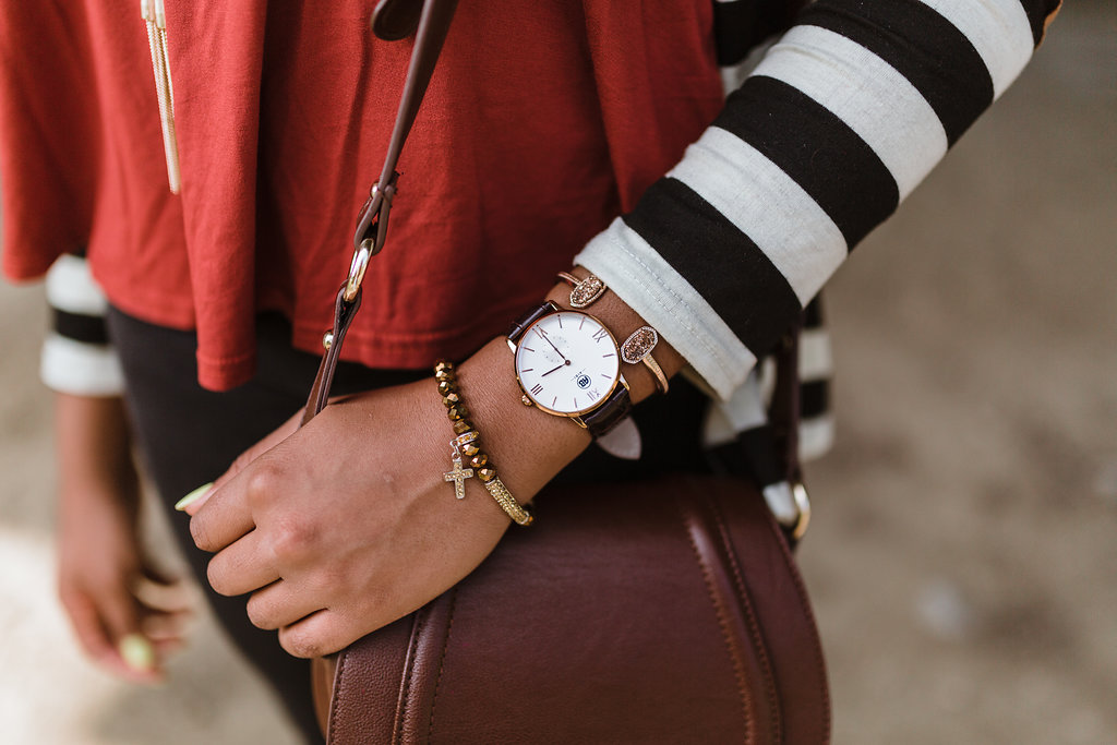 alibi watch, kendra scott elton bracelet in rose gold drusy