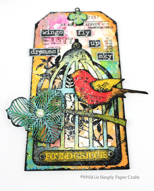 Meihsia Liu Simply Paper Crafts Mixed Media Tag Bird Cage Wings Tim Holtz Simon Says Stamp