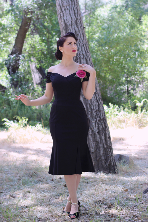 Unique Vintage The Pretty Dress Company Vintage 1940s Style Black Crepe Off Shoulder Fatale Wiggle Dress