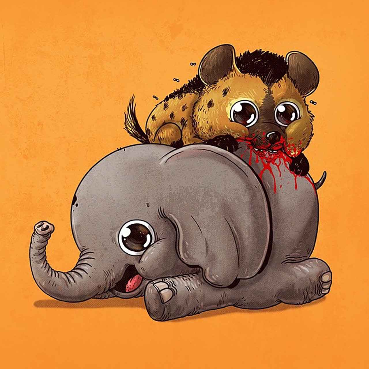 "Artist Creates Extremely Adorable ""Predator & Prey"" Illustrations #8: Elephant & Hyena"