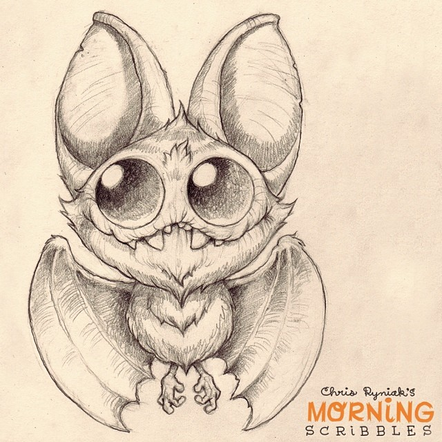 Character Drawings Portraits And Monsters: Bats Are Never Not Fun To Draw! #morningscribbles