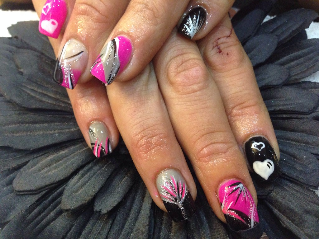 Acrylic nails with pink ,black,grey gelish gel polish free… | Flickr