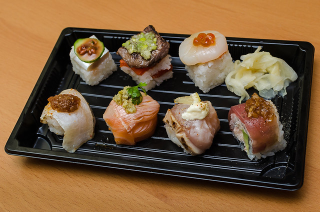 A Portion of the Aburi Sushi Sampler from Minami ($21)